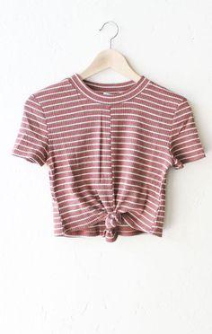 Striped Tie Front Crop Top // $18