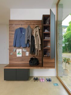 This mudroom unit is European and produced in the United Kingdom and can be placed in a home or apartment to organize the household.