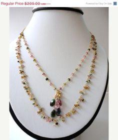 tourmaline precious gem.beaded by veroniquesjewelry on Etsy, $164.00   http://www.pinterestshopping.com
