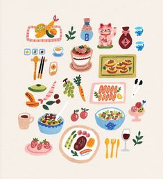 A part of food illustrations that i'm working on. Dibujos Cute, Cute Doodles, Food Doodles, Guache, Pattern Illustration, Love Painting, Food Illustrations, Cute Stickers, Graphic