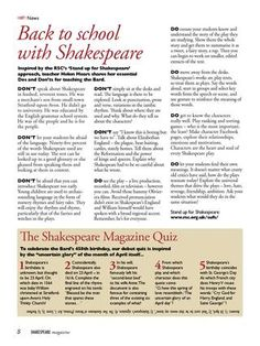 Tips on teaching Shakespeare from ISSUU - Shakespeare Magazine 01 by Shakespeare Magazine