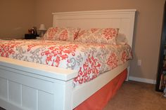 Side view of Ana White DIY Farmhouse Bed
