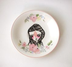 hand painted plate girl with flowers by prettylittlethieves, $28.00