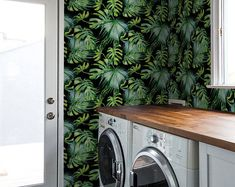 Items similar to Tropical leaf Removable Wallpaper / Self Adhesive Removable Wallpaper / Wall Mural / Wall covering - 138 on Etsy Laundry Room Wallpaper, Wall Wallpaper, Pattern Wallpaper, Leaves Wallpaper, Geometric Removable Wallpaper, Temporary Wallpaper, Modern Laundry Rooms, Laundry Room Design, Laundry Room Inspiration