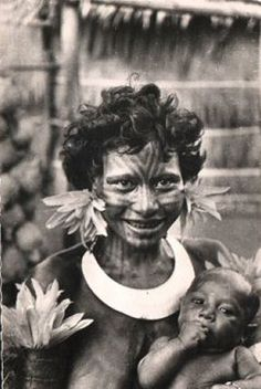 Mother and child in Papua New Guinea. Circa 1950