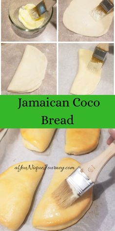 Jamaican Coco Bread (also known as folding bread) is a traditional bread that is eaten for lunch back home in Jamaica. This is a folded bread that is soft Jamaican Desserts, Jamaican Dishes, Jamaican Recipes, Jamaican Cuisine, Vegan Recipes Easy, Bread Recipes, Baking Recipes, Jamaican Coco Bread Recipe, Jamaica Food