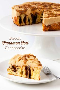 Biscoff Cinnamon Roll Cheesecake - An over-the-top dessert made with fresh cinnamon rolls and cheesecake topping swirled with Biscoff spread! #biscoff #cinnamon #cinnamonrolls #cheesecake
