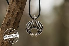 Handmade Lunula Pendant Sterling Silver Necklace Pagan Jewelry  Metal: 925 silver Weight: approx 14 g Size: 28 x 28 x 5 mm Hole size: 4 mm