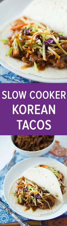 Slow cooker Korean tacos are so easy to make and the results are a tender & flavorful pork wrapped inside a warm tortilla and topped with a tangy slaw! (*** I used broccoli slaw and Boston or butter lettuce for tacos*** def repeater) Crock Pot Slow Cooker, Crock Pot Cooking, Slow Cooker Recipes, Crockpot Recipes, Cooking Recipes, Pork Recipes, Asian Recipes, Mexican Food Recipes, Korean Tacos