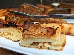 Turkish Breakfast, Istanbul. Borek at Alilass hotel, Sultanahmet, Istanbul. Food in Turkey.