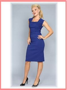 """Bettie Page Blue 50s Style """"Ella"""" Pencil Dress - Wish I had the figure for that ... so cute!"""