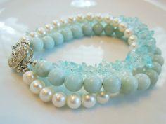 Aquamarine Amazonite and Pearl Bracelet by JewelrybyPam on Etsy