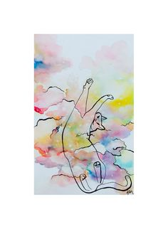 Space Cat - Art Print - Watercolor Painting Illustration by jenmitchardart