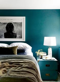 """""""I have a really dark bedroom,"""" says Sotelo. """"There is one tiny north-facing win. """"I have a really dark bedroom,"""" says Sotelo. """"There is one tiny north-facing window that lets in just a trickle of n Victorian Bedroom, Victorian Homes, Tidy Room, Teal Walls, Teal Rooms, Dark Rooms, Modern Master Bedroom, Scandinavian Bedroom, Girls Bedroom"""