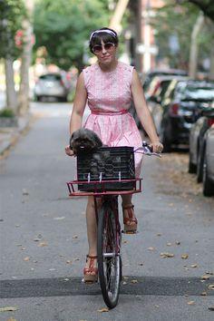 50's dress + bike + cute puppy.