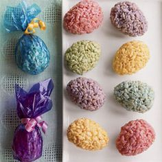 Rice Krispy Easter Eggs...Would be cute if you put some round chocolate thing in the middle as a yolk!