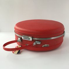 American Tourister Luggage, Vintage Round Tiara Case, Round Travel Case, Hat Box Train Case, Carry-on Luggage, Lipstick Red Ladies Suitcase by AlegriaCollection on Etsy