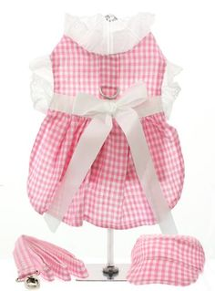 UrbanPup Pink Gingham  White Satin Ribbon Harness Dress Leash  Cap XSmall  Dog Body Length 8  20cm *** Check this awesome product by going to the link at the image. (This is an affiliate link)