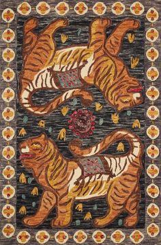 Loloi Tigress TIG-02 Charcoal / Tangerine Area Rug by Justina Blakeney – Incredible Rugs and Decor Justina Blakeney, Orange Area Rug, Hand Tufted Rugs, Grey Yellow, Gray, Saturated Color, Hand Knotted Rugs, 1 Piece, Charcoal