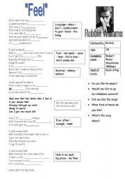 English worksheet: Feel song by Robbie Williams