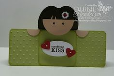 "For the little nurse peeking from the top of the card, I used the following punches:  Face: 1 3/4"" Circle Punch   Hands: 3/4"" Circle Punch cut in half   Hair: Wide Oval Punch (3)   Eyes: Owl Punch   Red Cross Flower: Punch Pack, hand-drawn red cross symbol with Real Red Stampin' Write Marker"