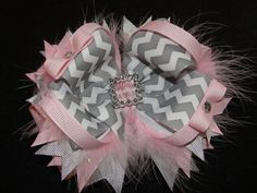 Pink and Grey Chevron Boutique Bow Stacked by AdorableCreationsbyC, $7.00
