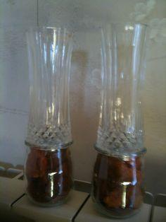 Come riutilizzare 2 bicchieri di cristallo a cui si è rotto il piede e trasformarli in portafiori/portacandele