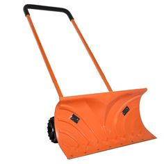 Ivation Heavy Duty Rolling Snow Pusher with Pivot Wheels & Easy Adjustable Handle, Bright Orange