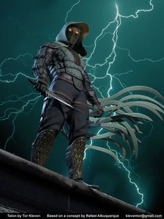 Known from the Batman comics. The Talons are used as assassins by the Court of Owls. This particular one was based on a design by Rafael Albuquerque, as seen in 'The Fall of House of Wayne'. Superhero Characters, Comic Book Characters, Comic Books Art, Fantasy Characters, Comic Art, Batman Art, Dc Comics Art, Batman Comics, Character Art