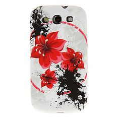 Scrawl Red Flowers Pattern Soft Silicon TPU Case Cover Case for Samsung Galaxy S3 I9300