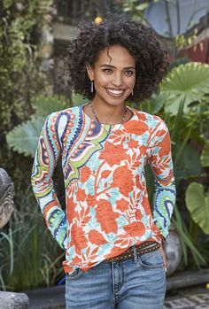 Paisley Garden Top - one of a kind, hand printed top.