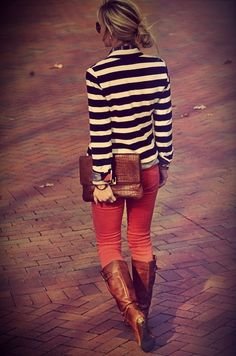 Black/white striped blazer + colored pants + tan boots.