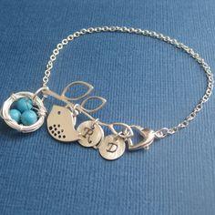Bracelet Nest and Bird turquoise inital by FlightOFancyJewelry, $35.00