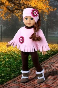 DreamWorld Collections - Pink Poncho - 4 Piece Outfit - Pink Fleece Poncho, Matching Headband, Brown Leggings and Brown Sherpa Boots - Clothes Fits 18 Inch American Girl Doll (Doll Not Included) Sewing Doll Clothes, Baby Doll Clothes, Sewing Dolls, Ag Dolls, Doll Clothes Patterns, Girl Dolls, Doll Patterns, Diy Clothes For Dolls, Barbie Clothes
