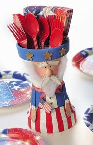 Uncle Sam Clay Pot - paint all red and you have a Santa Claus - tutorial (for uncle sam)