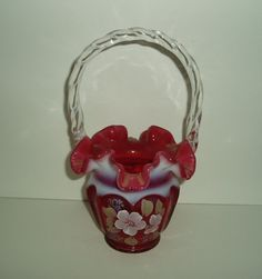 Fenton Cranberry Glass | FENTON CRANBERRY BASKET - Ruffled Victorian Art Glass with Swirl ...