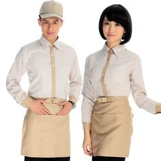 uniform work on sale at reasonable prices, buy 2013 autumn/winter high quality fine fabric striped long-sleeve shirt(apron) work wear/restaurant uniform from mobile site on Aliexpress Now! Cafe Uniform, Waiter Uniform, Hotel Uniform, Staff Uniforms, Work Uniforms, Striped Long Sleeve Shirt, Long Sleeve Shirts, Restaurant Uniforms, Work Wear