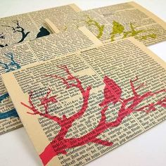 Love stamping over pages of a book. neat, subtle way to include unattractive memorbilia! Info Board, Altered Books, Altered Art, Diy Craft Projects, Diy Crafts, Arts And Crafts, Paper Crafts, Book Crafts, Recycling