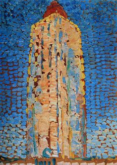 "artist-mondrian: ""Lighthouse in Westkapelle, Piet Mondrian Medium: oil,canvas"" Impressionism, Doesburg, Piet Mondrian, Painter, Dutch Painters, Dutch Artists, Lighthouse, Art, De Stijl"