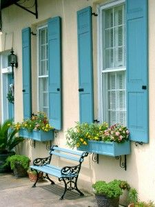 Matching shutters, window boxes and bench. Love this and love the colour too. #countryfrench