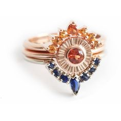 Sunset Ring Set, Unique Wedding Ring Set, Sapphire Ring Set, Sapphire... ❤ liked on Polyvore featuring jewelry, rings, orange jewelry, wedding rings jewelry, sapphire wedding rings, wedding set ring and sapphire rings