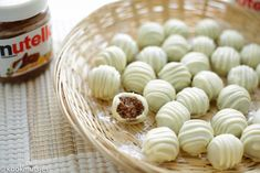Nutella bonbons | Kookmutsjes Cookie Desserts, Just Desserts, Delicious Desserts, Yummy Food, Nutella, Candy Recipes, Snack Recipes, Snacks, Eid Sweets