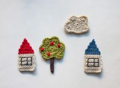 PDF Crochet Pattern - The Tree, the Houses and the Cloud Applique - with symbol CHART instructions - Permission to Sell Finished Items crafts Beau Crochet, Crochet Home, Crochet Crafts, Crochet Baby, Crochet Projects, Knit Crochet, Crochet Motifs, Crochet Patterns, Crochet Appliques