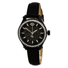 Harley-Davidson Womens Flower Power Black Leather Wrist Watch Brand Name  Watches 1f98a1fa047
