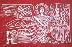 """rachel t robertson: """"my dad made this block print about 40 years ago for a Christmas card. my mom sent me and my siblings each a print."""""""