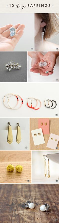 10 DIY earrings!  Oh the lovely things: 60 DIY Accessories- Last Minute Gifts For Fashionistas