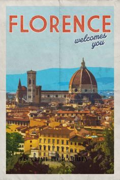 Vintage Travel Poster - Florence - Duomo - Italy.