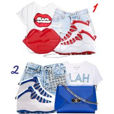 Created in the Polyvore iPhone app. http://www.polyvore.com/iOS  #red #blue #shorts #jordans