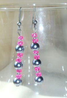 Dangle Earrings Gray and Raspberry Pink/  One by LittleGemsandMore, $10.00