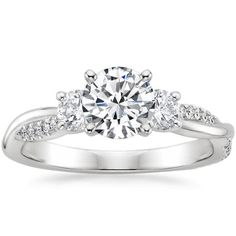 18K White Gold Three Stone Petite Twisted Vine Diamond Ring (2/5 ct. tw.) from Brilliant Earth
